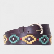 colores leather belt embroidered - dark brown