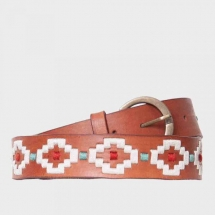 Colores leather belt embroidered - light brown