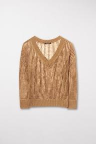 Luisa Cerano blended linen v-neck jumper - saffron