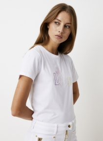 Lois PERFECT TEE embroidery pastel - white