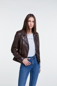SET Fashion Tyler leather jacket - dark brown