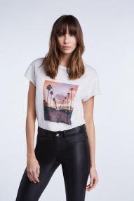 SET Fashion Palm trees T-shirt - cloud dancer