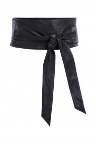 SET Fashion The Sash Lambskin strik riem - zwart