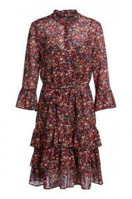 SET Fashion Viscose dress with millefleurs - black red