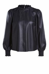 SET Fashion leren blouse met frills - black