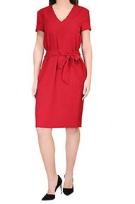 Zenggi Straight V-neck Dress rood