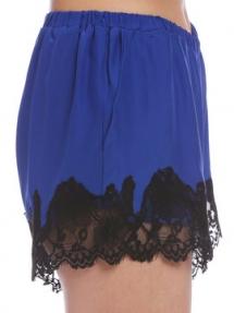Gold Hawk Marilyn Lace Silk Shorts blauw
