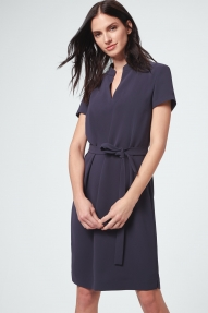 Windsor Crêpe Dress with Belt - navy