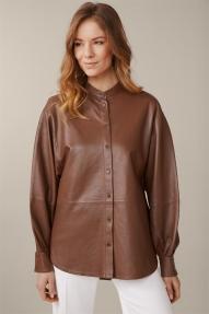 Windsor Lamb Nappa Leather Blouse - copper