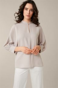 Windsor Crêpe Blouse with Wide Sleeves - open white