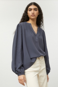 Closed Voile Cotton Blouse - thunder sky