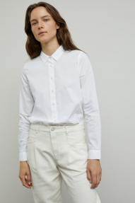 Closed organic popline blouse - White