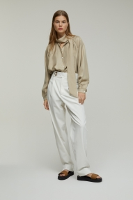 Closed zijden twill blouse - clay
