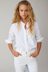 Closed poplin shirt blouse - white