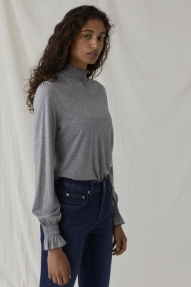 Closed feminine shirt - grey heather melange