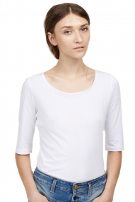 Closed Top Women's Organic Cotton driekwart mouw wit