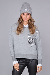 Essentiel Rodano Sequined Sweater grijs