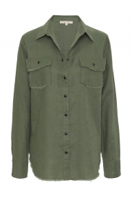 Gold Hawk Frayed Linen shirt - muted olive