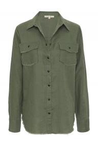 Gold Hawk Frayed Linen shirt groen