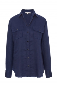 Gold Hawk Frayed Linen shirt - navy