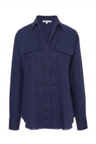 Gold Hawk Frayed Linen shirt - navy