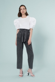Isabelle Blanche RELAXED DENIM PANTS - nero