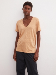 By Malene Birger Zooey linen t-shirt - Tan