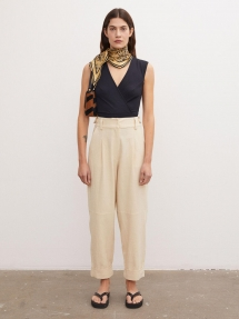 By Malene Birger Olax cotton-linen trousers - wood