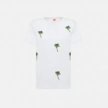 Sundek rising sun t-shirt sequin palms - White