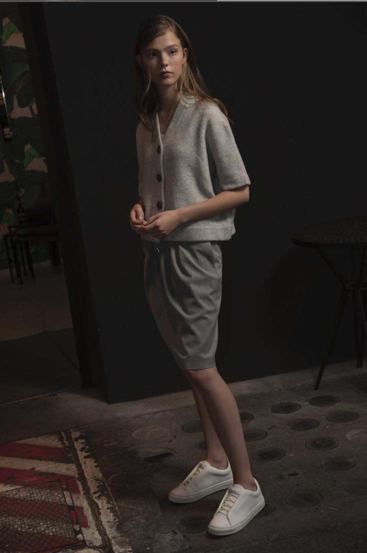 SPOON Pleated Skirt Flanel grijs