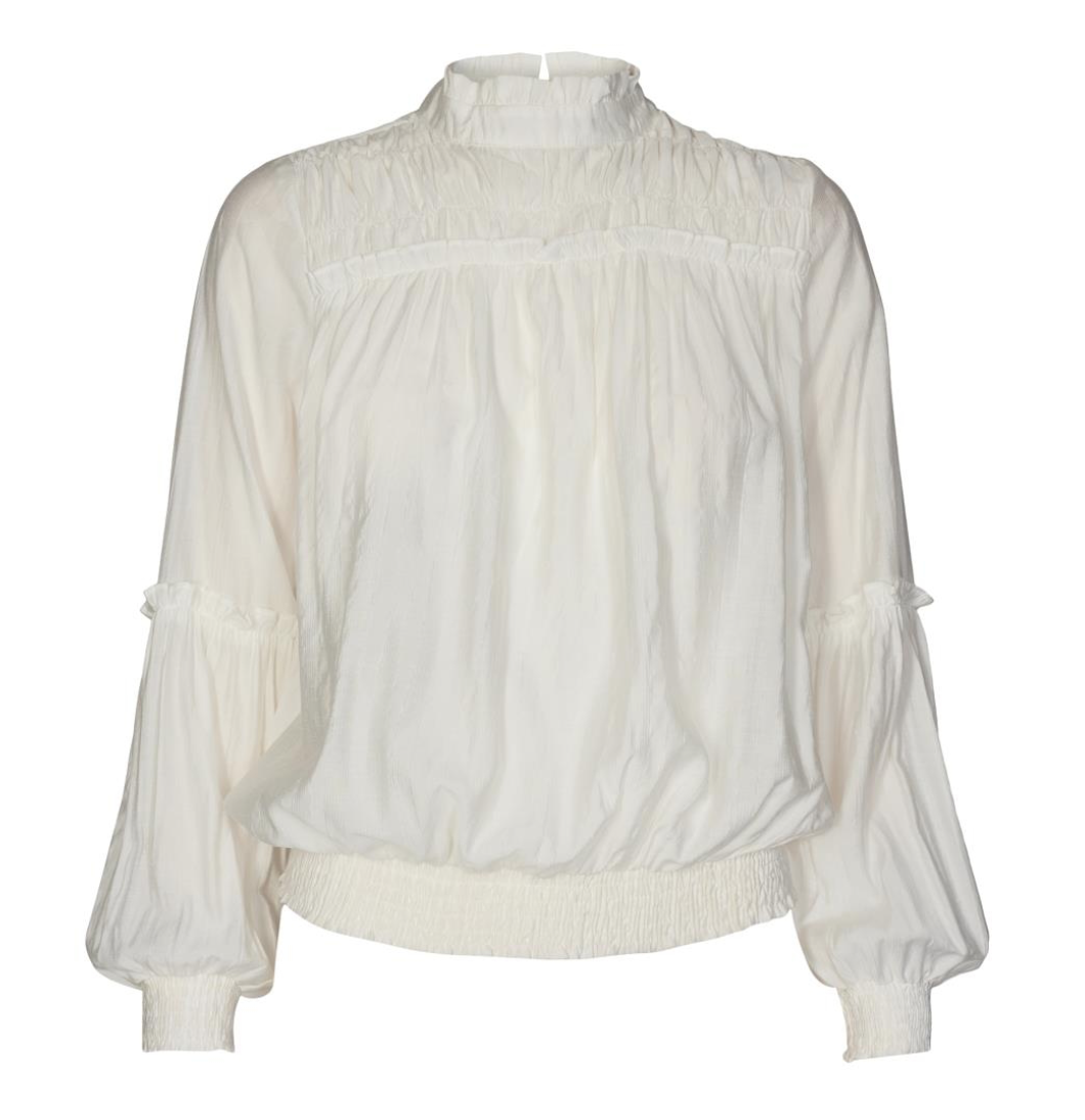 co couture avery frill smock blouse off white