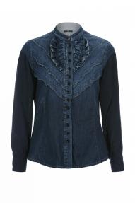 High COY denim blouse - dark blue