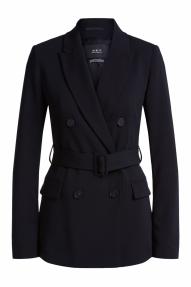 SET Fashion double-breasted blazer met ceintuur - black