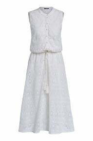 SET Fashion Hole embroidery midi dress - cloud dancer