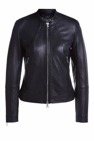 SET Fashion leather jacket with stand up collar - black