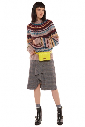Essentiel Ribambel frilled pencil skirt multicolour