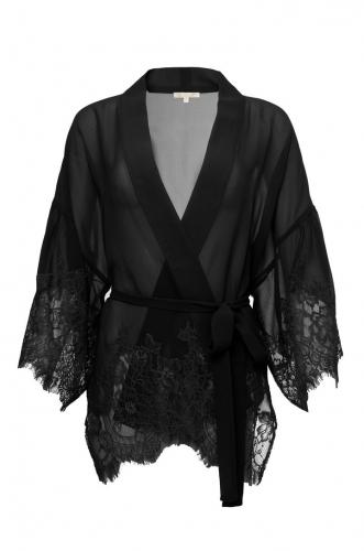 Gold Hawk coco silk lace kimono - black
