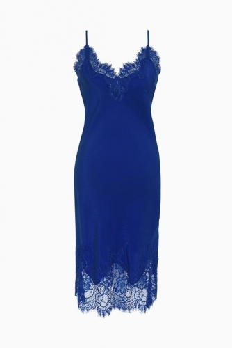 Gold Hawk Coco Bodice Lace Dress - french blue