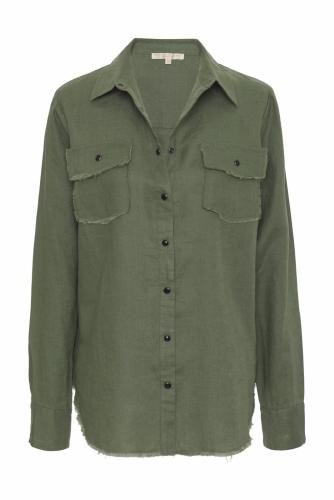 Gold Hawk Frayed Linen shirt - muted olive