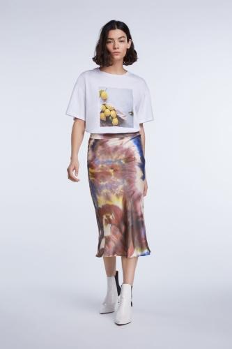 SET Fashion midi skirt with batik print - dk red white