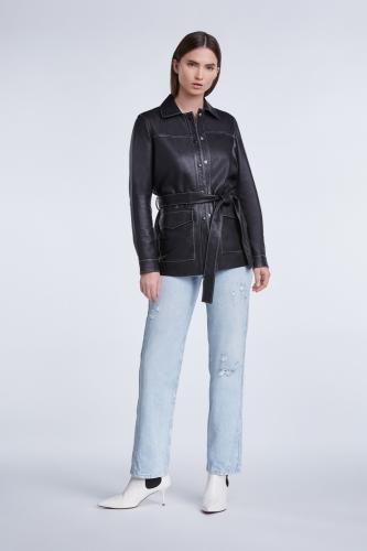 SET Fashion leren overshirt - zwart