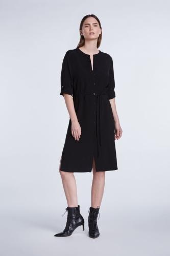 SET Fashion viscose jurk met tunnelkoord - zwart