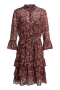 SET Fashion Viscose dress with millefleurs - black red