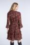 SET Fashion Viscose dress with millefleurs - black red bij Marja Lamme Fashion Amsterdam