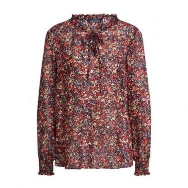 SET Fashion Blouse with millefleurs - black red
