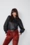 SET Fashion leren blouse met frills - black bij Marja Lamme Fashion Amsterdam!