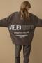 Closed Sweatshirt with Print - dark lava bij Marja Lamme Fashion Amsterdam