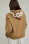 Closed Organic Cotton Hoodie with Print - golden oak bij Marja Lamme Fashion Amsterdam