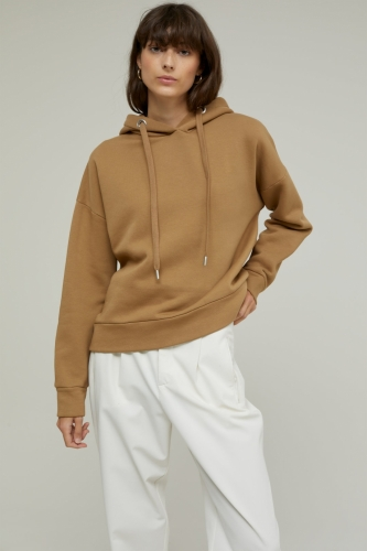 Closed Organic Cotton Hoodie with Print - golden oak