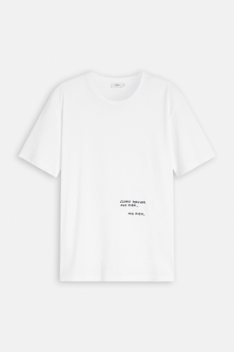 Closed T-Shirt with Embroidery - white/beige